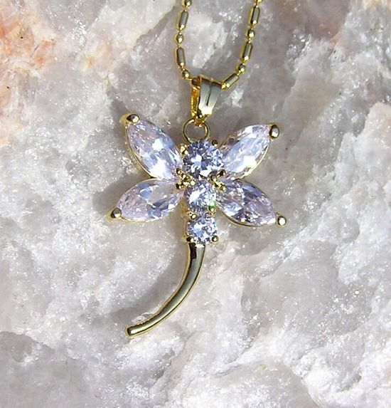 White Crystal Dragonfly Pendant  Vintage by SunnyCrystals on Etsy, £10.00