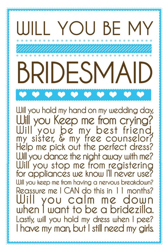 bridesmaid invitation- so cute