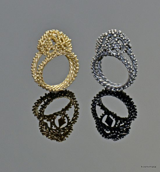 Sophia Georgiopoulou - Constantinople Rings - 18k gold, sterling silver; soldered. pierced, granulation, liver of sulfur patina, hand finished, hand burnished