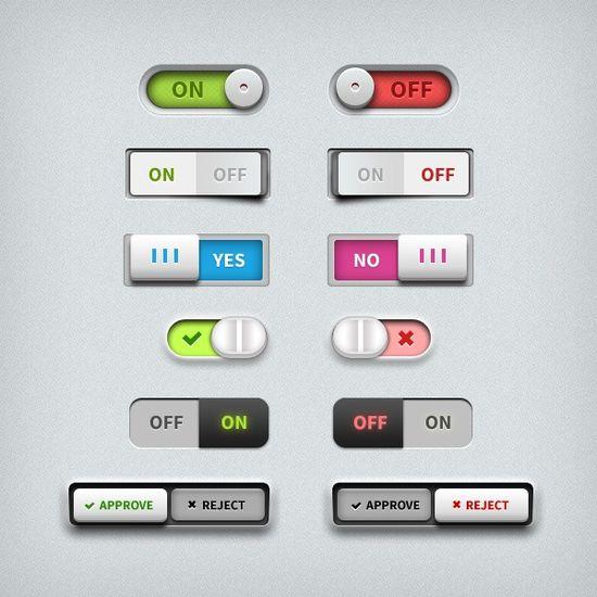 Six button switch UI design psd material
