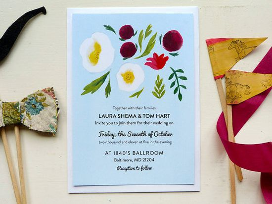 25 Cool Blue Wedding Invitations by JollyEdition on Etsy, £50.00