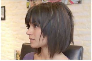 Deconstructed Diagonal Foward Bob by Dathan Hunter Salon, via Flickr