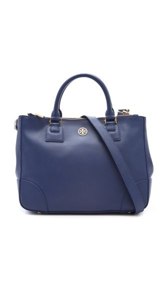 Robinson Double Zip Tote in French Navy by Tory Burch #Handbag #Tote #Tory_Burch