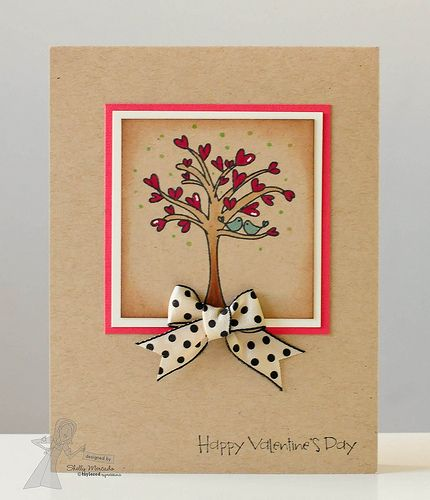 handmade Valentine card ... mostly kraft ... sweet heart tree (pun intended) with two little love birds ... cute polka dot bow ... sweet!!