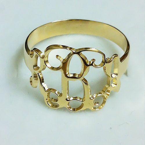 monogram ring - gold