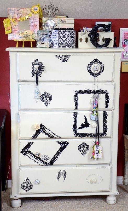 Black and white #decoupage dresser. #DIY home #decor.