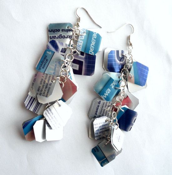 Upcycled earrings made of recycled plastic  by dekoprojects, $10.00 love it! must try! #ecrafty