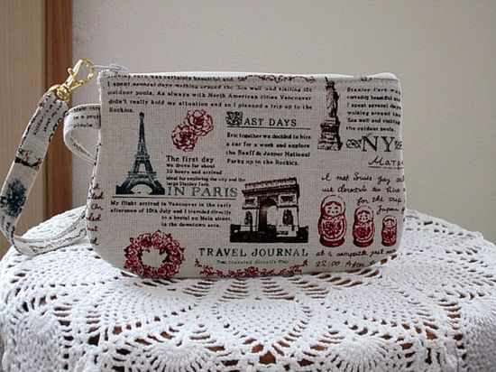 Wristlet Zipper Gadget Purse Pouch in Travel by Antiquebasketlady, $11.99
