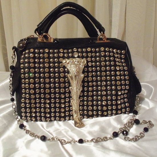 Black studded purse, Black Dalia leather bag.  The sexy siren of the Red Carpet Series.