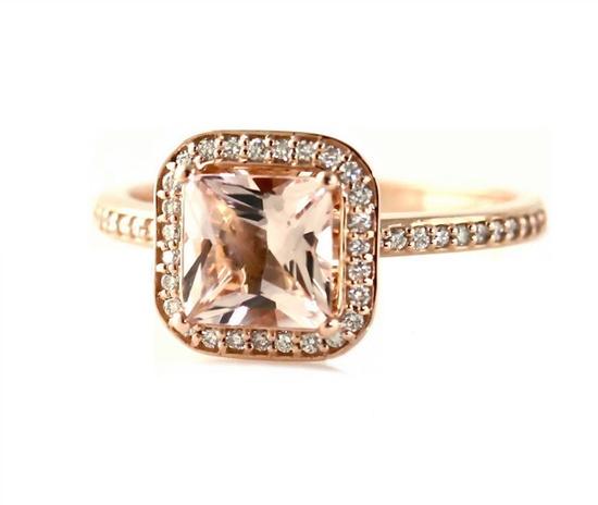 14K Rose Gold Morganite Engagement Ring Princess by RareEarth