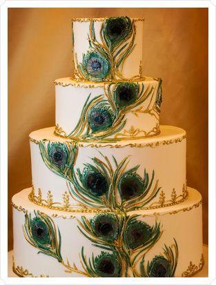 #Peacock wedding cake