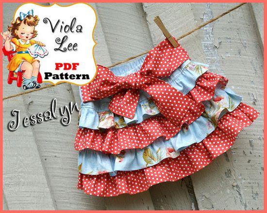 Cute Patterns - Jessalyn Ruffled Skirt Pattern  Mini Twirl by ViolaLeePatterns,