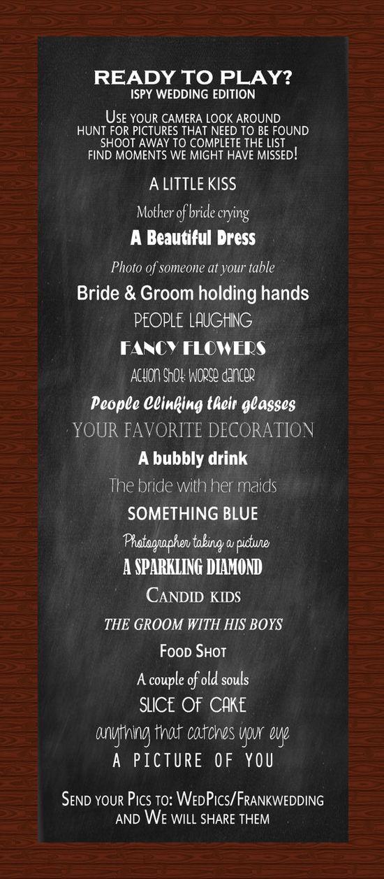 Fun I SPY Wedding Reception Game  #weddinggame #ispyweddinggame #wedding