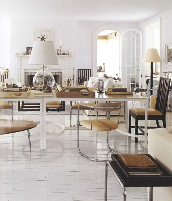 Thomas O'Brien's home...camel and white...love the white floors and arched french door