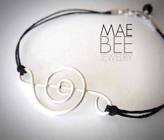 Sterling Treble Clef on linen #bracelet from JewelryByMaeBee on #Etsy. www.jewelrybymaeb...