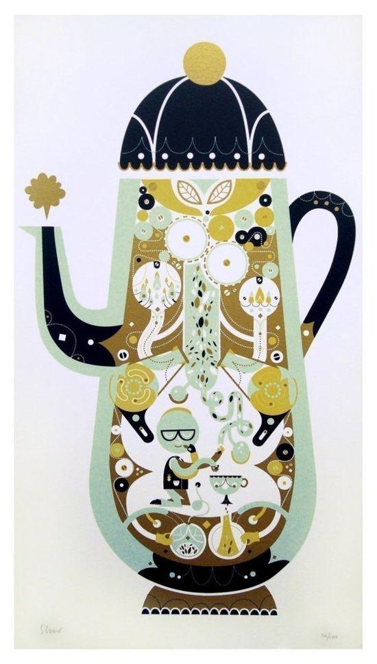 'the tea factory' silkscreen print #teapot #sollinero #illustration