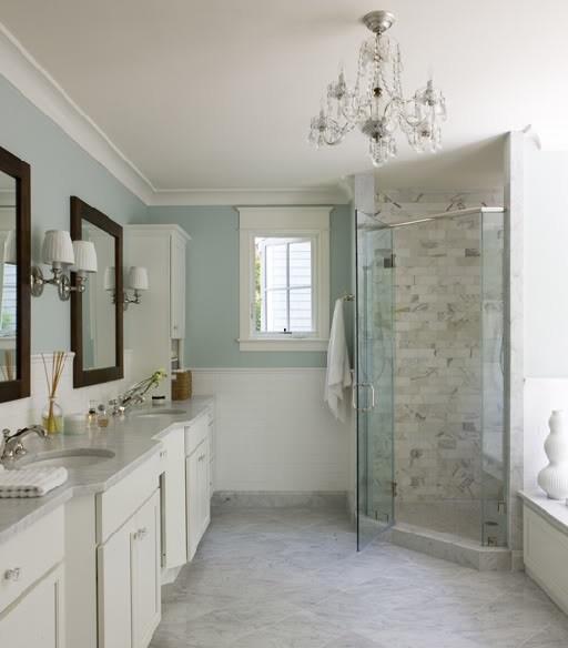 like the colors- white light blue bathroom