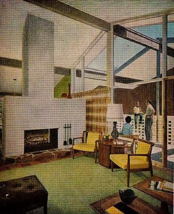 Living room enjoys both a handsome fireplace and a view out on the terrace.  1959 Idea Home Better Homes and Gardens September 1959