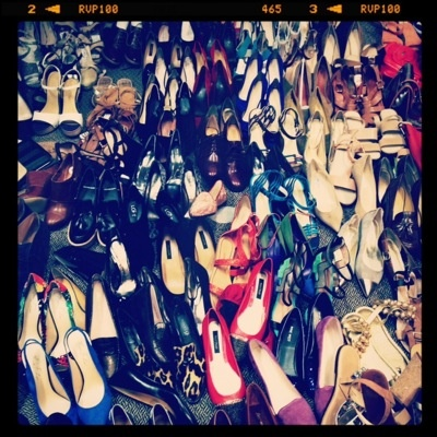 5/14, 12:15 PM: A literal sea of #shoes on set with #fashion editor Rachael Wang. Is this what heaven looks like? #makingsept