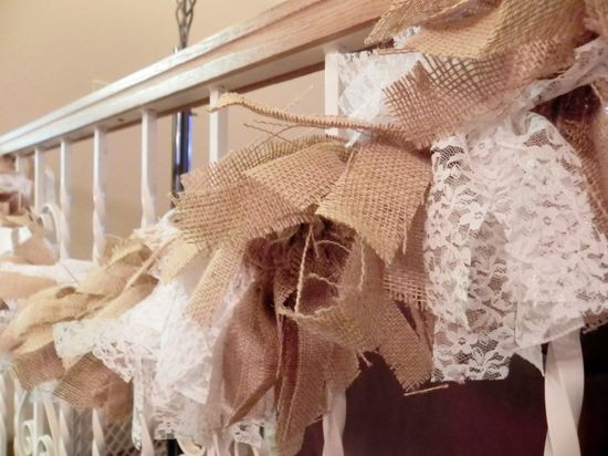 Burlap and Lace Garland - Rustic Wedding Decor  - Burlap Garland Burlap Decor