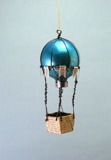 Up up and away balloon ornament using a vintage ornament, wire, handmade paper basket, and
