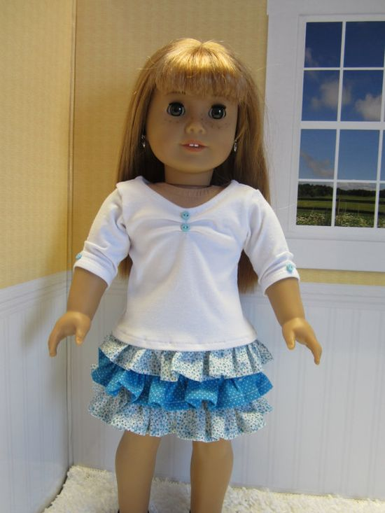 American Girl doll clothes 2 pce aquateal  ruffle by JazzyDollDuds, $16.00