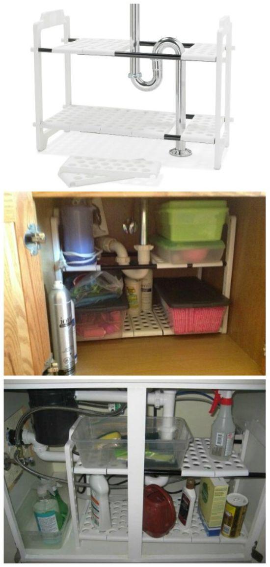 Expandable Under sink Shelf Organizer - 30 Brilliant Bathroom Organization and Storage DIY Solutions
