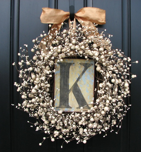 Wedding Wreaths - Champagne - Berry Wreath - Vintage Inspired Decor - Front Door - Sugar Cream Pie - Personalized Decor - Initial Plates. $95.00, via Etsy.