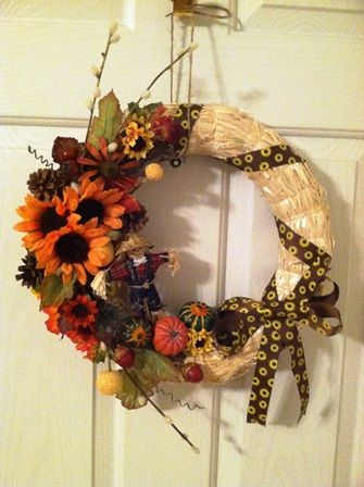 fall wreath 2013 and my first handmade bow (it's gotta get better)