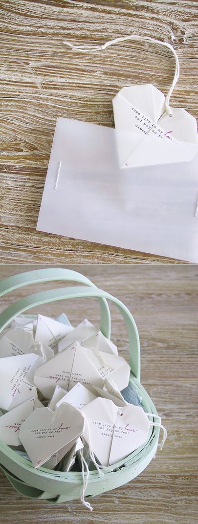 The coolest invites - origami heart wedding invites - blog comes with template download