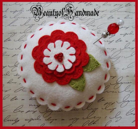Wool Felt Pincushion PillowGlass Beads Stick by Dana of BeautyOfHandmade, $6.00