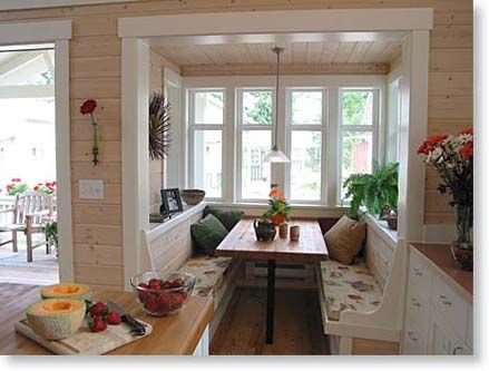 Bench Seating in a Dining Nook Bump Out... have this home's exterior on another board.  Thanks to Small Homes by Ross Chapin Architects