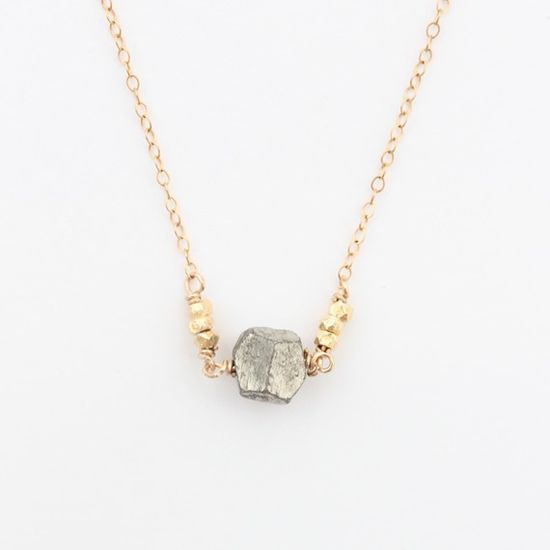 Pyrite and Gold Nugget Necklace $40