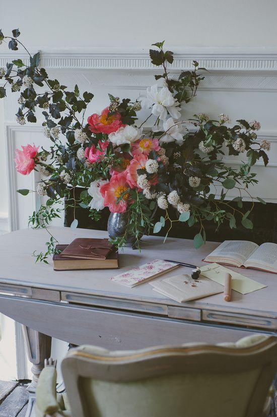 peonies and handwritten notes