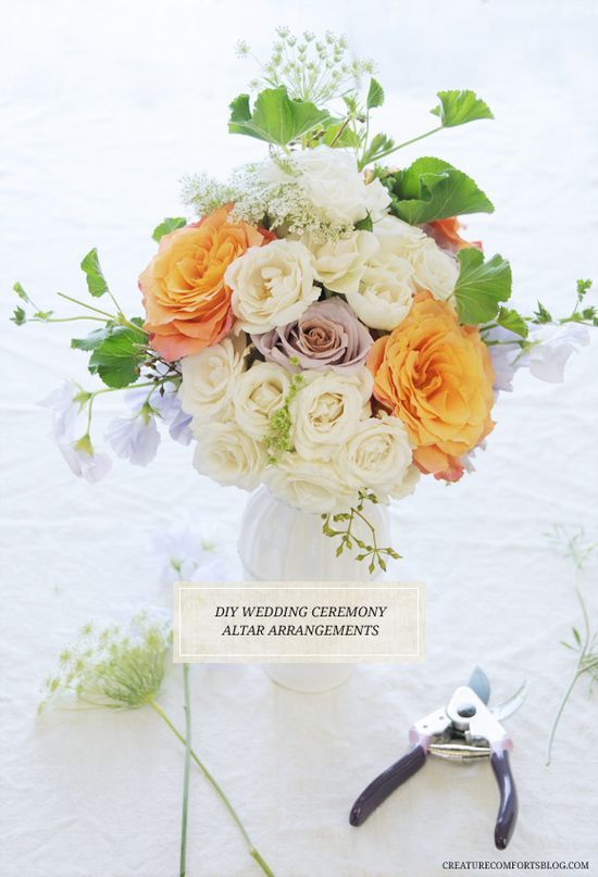 DIY Wedding Altar Arrangements with Flower Muse via Creature Comforts