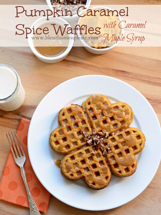 Pumpkin Caramel Spice Waffles with Caramel Maple Syrup - PERFECT fall brunch before hitting the pumpkin batch. (The syrup is TO DIE FOR!)
