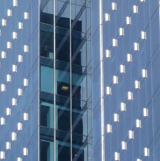 Chicago, 155 North Wacker Drive, Architectural Abstract, Blue, via Flickr.