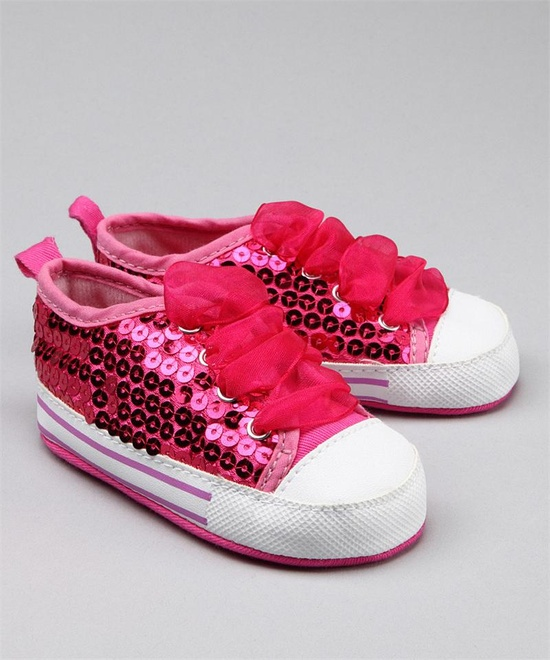 Hot Pink Sequin Lace Sneaker