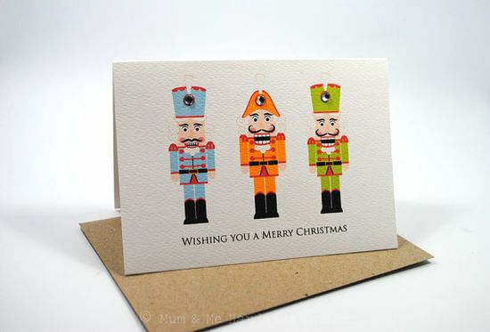 Merry Christmas Card - 3 Nutcrackers - XMS021 - Orange, Blue and Green - Handmade Gift Ideas for Christmas from Handmade HQ
