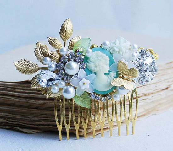 Bridal HAIR COMB Gold Vintage Hair Accessory by redtruckdesigns