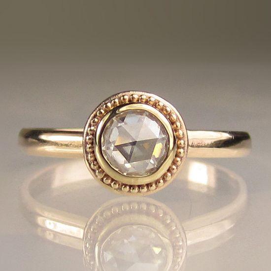 Granulated Rose Cut Moissanite Engagement Ring - 14k Gold