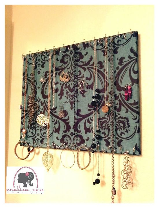 Jewelry Holder - Paint a piece of wood the size of your choice & add some small hooks.