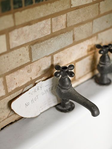 Nottingham Brass faucets outfit this bathroom's vintage farm fink. #decor