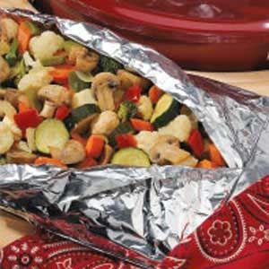 Grill vegetables in aluminum foil