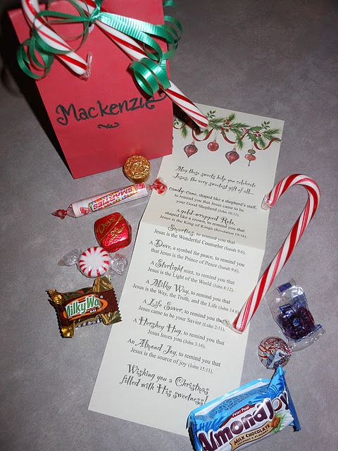For the kids: to help them celebrate Jesus, the Sweetest Gift. Each candy represents one of Jesus' names.