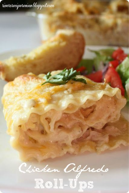 """Chicken Alfredo Roll-Ups.  I would maybe try with """"light"""" sauce?"""