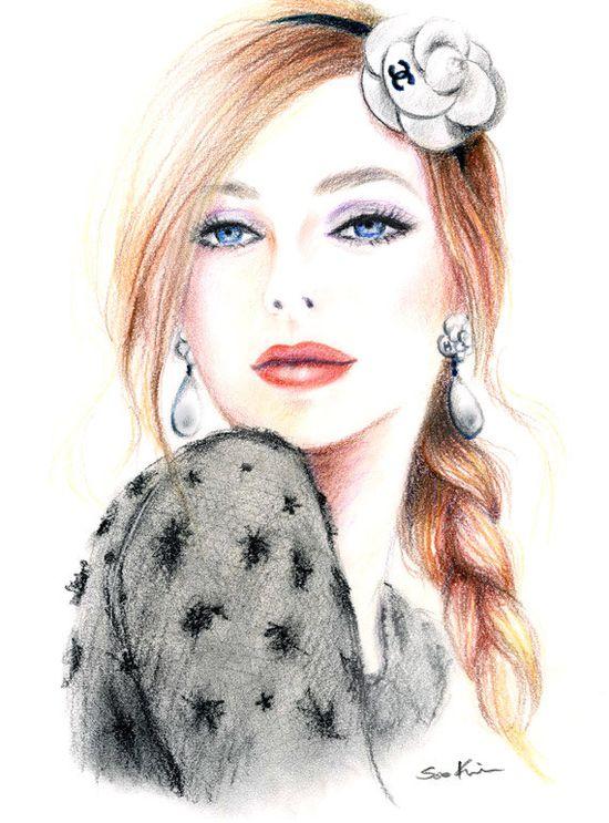 Chanel Camellia - Print of Original Fashion Inspired Illustration