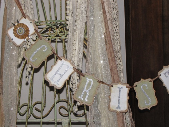 Vintage Inspired CHRISTMAS Banner Shabby Garland Victorian  Green and White. $29.00, via Etsy.