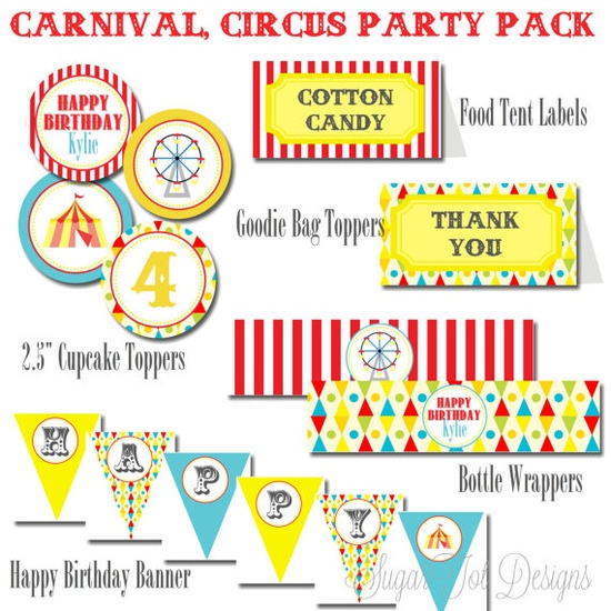 Carnival Circus Birthday Party Pack Vintage by SugarTotDesigns, $25.00