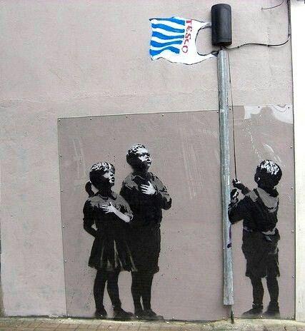 Banksy(English Graffiti Artist), Tesco Flag Pole